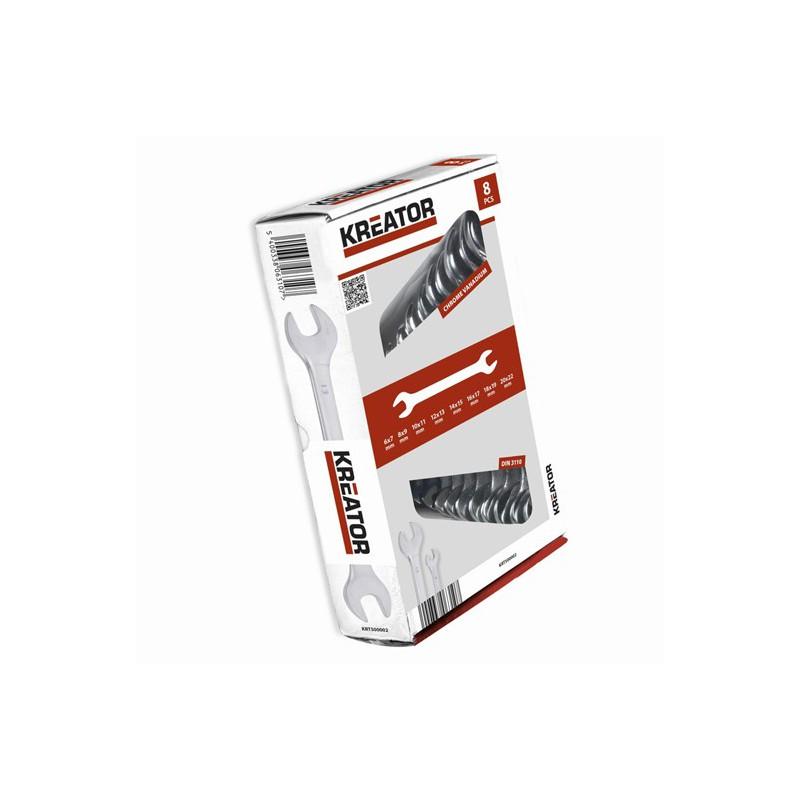 Sada klíčů plochých oboustranných KRT500002 Kreator, 6 - 22mm, 8 kusů