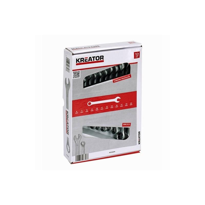 Sada klíčů očko-plochých oboustranných KRT500009 Kreator, 6 - 22mm, 12 kusů