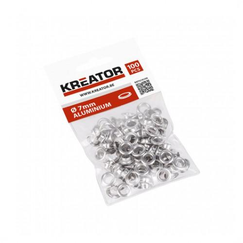 Kroužky lemovací hliníkové KRT616106 Kreator, 7mm, 100 kusů