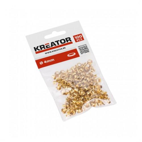 Kroužky lemovací mosazné KRT616102 Kreator, 4mm, 100 kusů