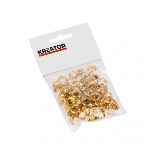 Kroužky lemovací mosazné KRT616105 Kreator, 7mm, 100 kusů