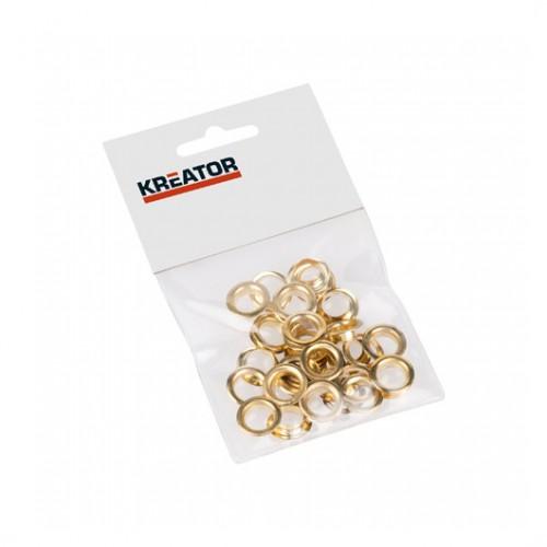 Kroužky lemovací mosazné KRT616108 Kreator, 10mm, 25 kusů