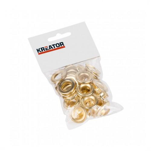 Kroužky lemovací mosazné KRT616110 Kreator, 12,5mm, 25 kusů