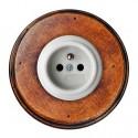 Zásuvka zapuštěná 31-208-17 + rámeček dřevo staré