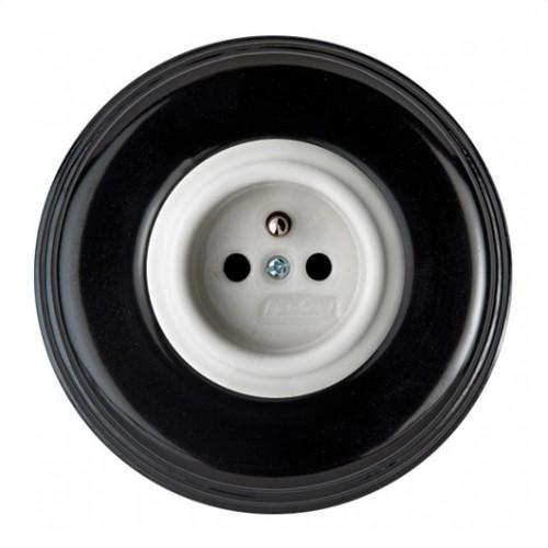 Stylová keramická zásuvka Garby Colonial, 230V/16A - bílá + rámeček porcelán černá