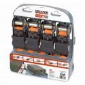 Upínací pás ráčnový s háky KRT555007 Kreator, 225kg/4,5m, 4 kusy