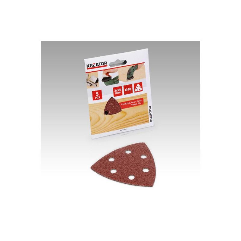 Sady brusných papírů na dřevo do mini delta brusek, KRT210003, 5 kusů