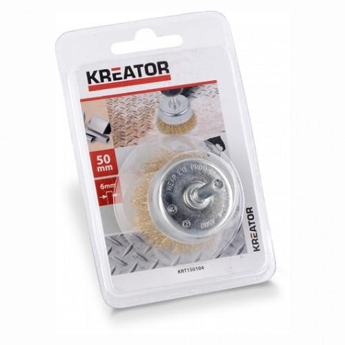 Kartáč měděný brusný KRT150104 na stopce Kreator, průměr 50mm