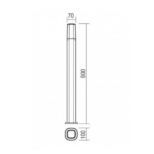 Sloupkové svítidlo exteriérové 9078 moderní ze série Crayon, rezavá hnědá