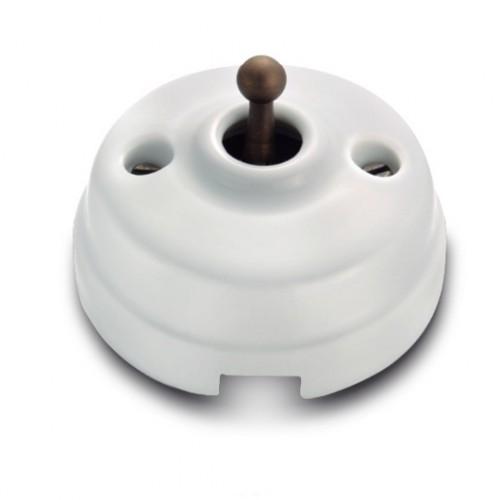 Přepínač schodišťový 60-308-45 - bílá/stará mosaz