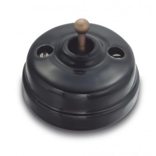 Přepínač schodišťový 60-308-35 - černá/stará mosaz