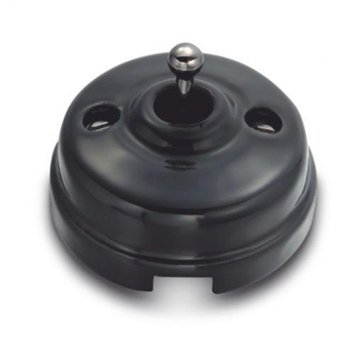 Tlačítko páčkové 60-312-21 - černá/černý nikl
