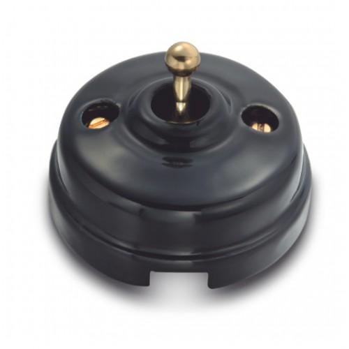 Vypínač páčkový 60-314-23 - černá/leštěná zlatá