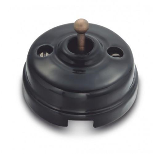 Tlačítko páčkové 60-312-25 - černá/stará mosaz