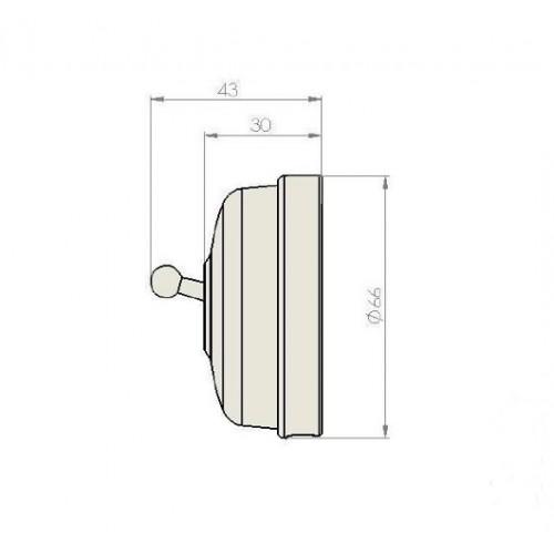 Tlačítko páčkové 60-312-42 - bílá/leštěná měď
