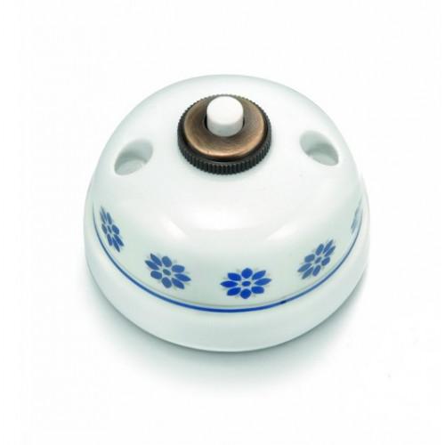Tlačítko stiskací 30-310-61, bílá s modro stříbrným dekorem