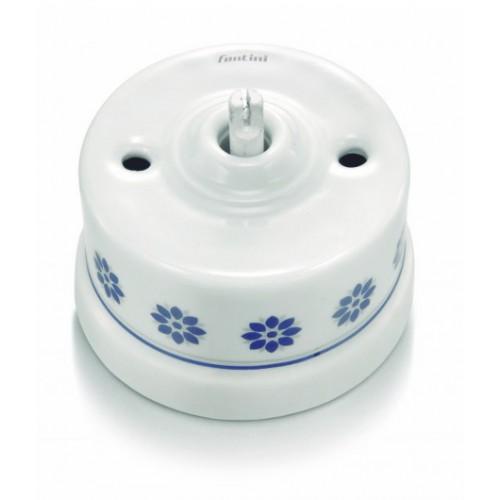 Tlačítko otočné 30-328-61, bílá - modro stříbrný dekor