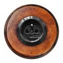 Zásuvka zapuštěná 31-208-27 + rámeček dřevo staré
