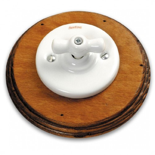 Vypínač otočný 31-306-17 + klička 30-967-17 a rámeček staré dřevo