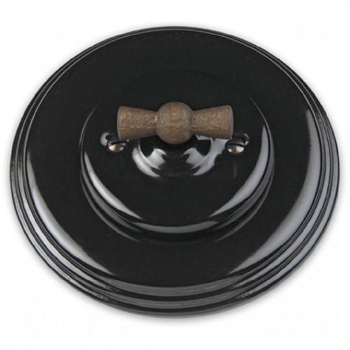 Vypínač otočný 31-306-27 + klička 30-967-21 a rámeček černý porcelán