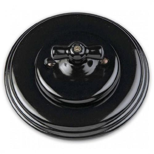 Vypínač otočný 31-314-27 + klička 30-967-27 a rámeček černý porcelán