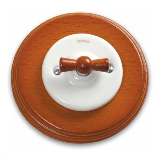Přepínač lustrový 31-300-17 + klička 30-967-19 a rámeček medové dřevo