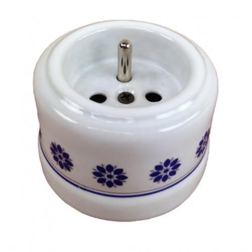 Zásuvka přisazená 30-211-61, bílá s modro stříbrným dekorem