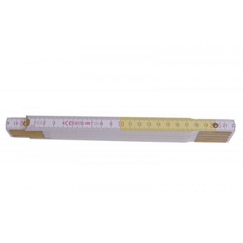 Metr skládací 113023 dřevěný bílý/žlutý Metrie, 2m