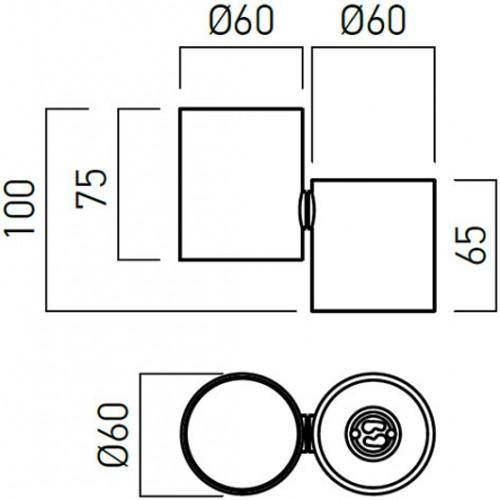 Nástěnné svítidlo moderní TO01BK, matná černá, GU10