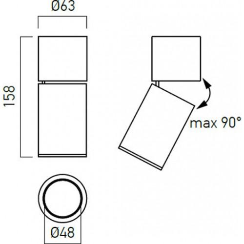 Nástěnné svítidlo moderní AG01MBK, matná černá, GU10