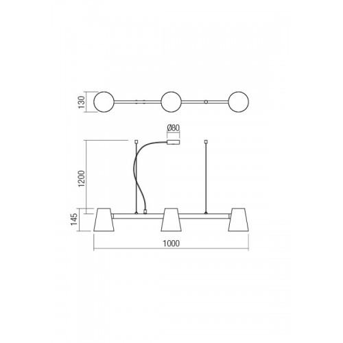 Lustr moderní 01-1554 ze série Mingo, 3 x 42W, bílá