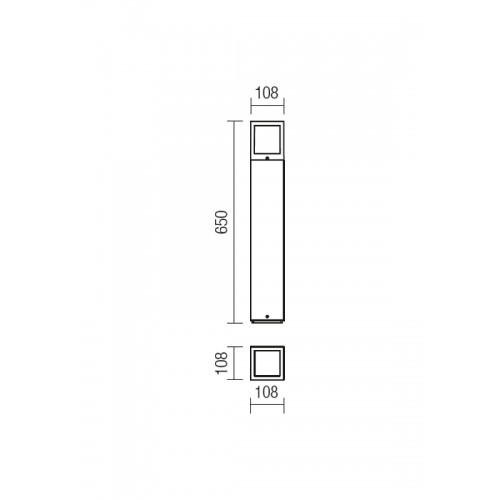 Sloupkové svítidlo exteriérové 9644 moderní ze série Brick, tmavá šedá