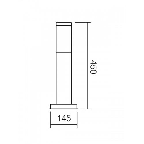 Sloupkové svítidlo exteriérové 9013 moderní ze série Colonna, nerez, 450mm