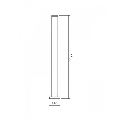 Sloupkové svítidlo exteriérové 9021 moderní ze série Colonna, nerez, 1100mm