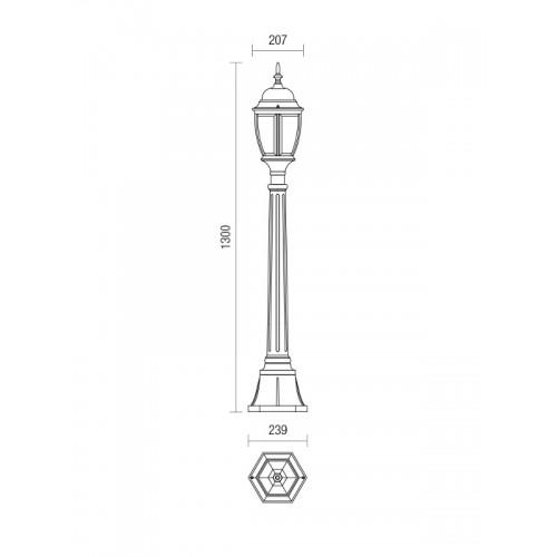 Sloupkové svítidlo exteriérové 9608 rustikální ze série Sevilla, 1300mm