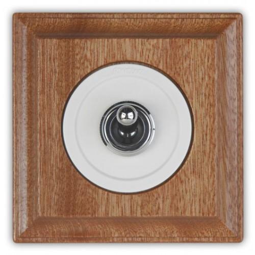 Vypínač a přepínače páčkové 65-26 ze série Venezia, bílá/chrom + rámeček 36-811-16