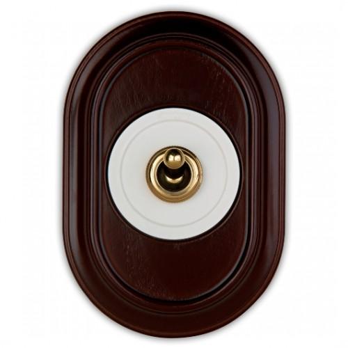 Vypínač a přepínače páčkové 65-30 ze série Venezia, bílá/zlatá + rámeček 35-801-20