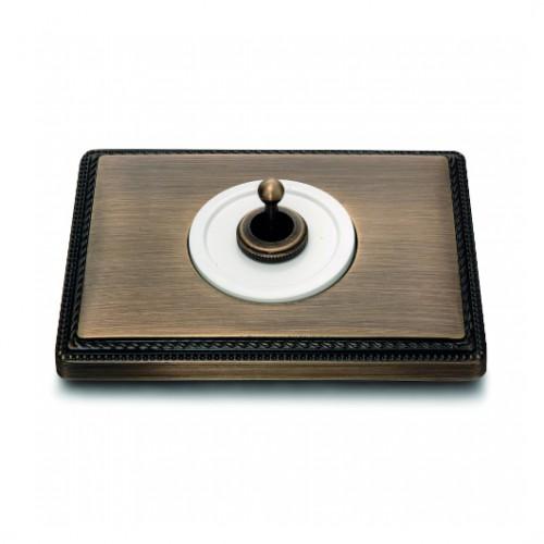 Vypínač a přepínače páčkové 65-59 ze série Venezia, bílá/stará bronz + rámeček 39-801-53