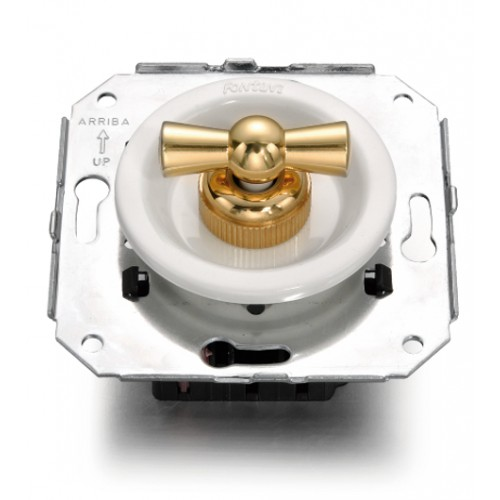 Vypínače a přepínače otočné 35-30 ze série Venezia, bílá/zlatá