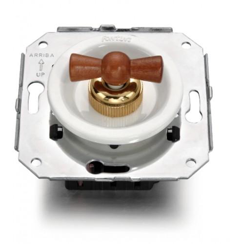 Vypínače a přepínače otočné 35-16 ze série Venezia, bílá/medové dřevo