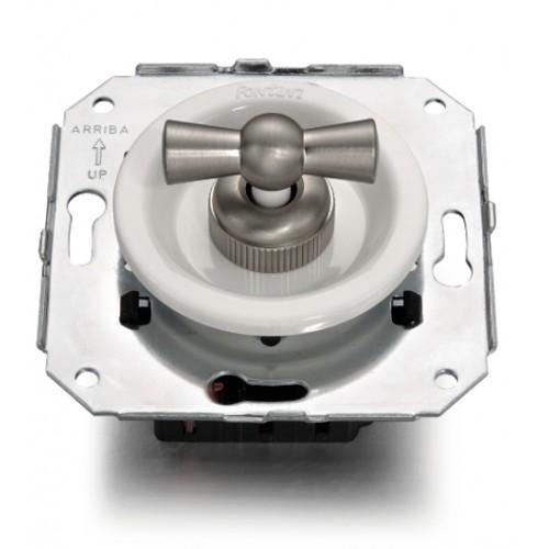 Vypínače a přepínače otočné 35-25 ze série Venezia, bílá/matný nikl