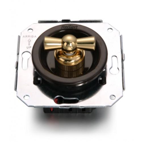 Vypínače a přepínače otočné 35-54 ze série Venezia, hnědá/zlatá