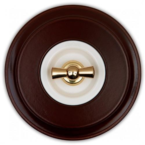 Vypínače a přepínače otočné 35-30 ze série Venezia, bílá/zlatá + rámeček 31-801-21