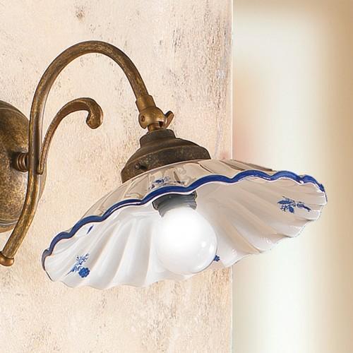 Nástěnné rustikální svítidlo 2211.AB - modrý dekor