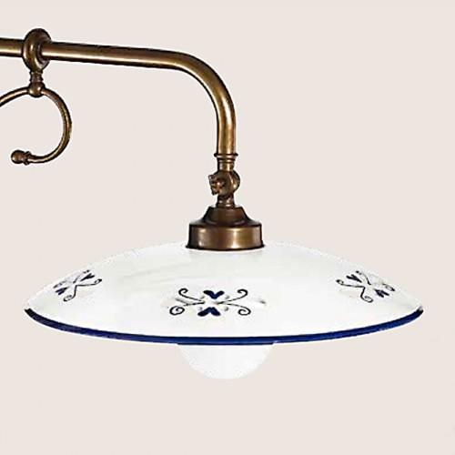 Nástěnné rustikální svítidlo 367/1AP-PC-BR-CE1-BL - modrý dekor