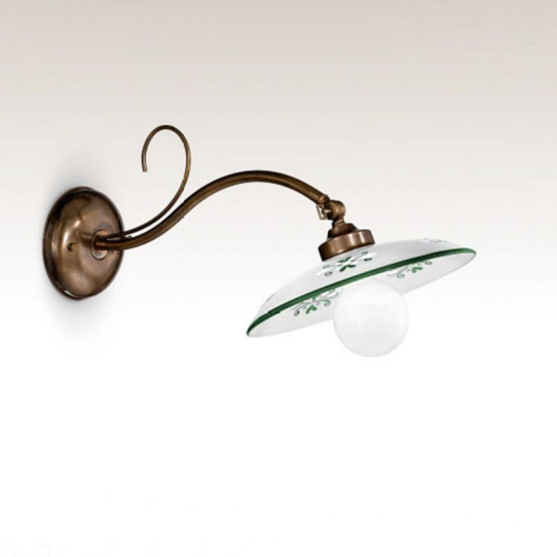 Nástěnné rustikální svítidlo 411/1AP-MD-BR-CE1-VE - zelený dekor