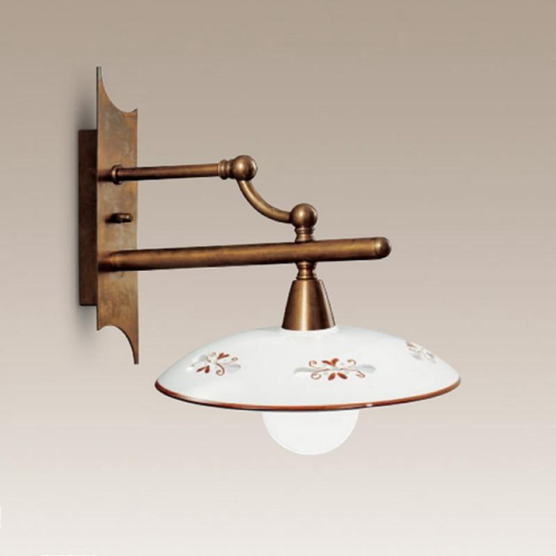 Nástěnné rustikální svítidlo 354/1AP-BR-CE1-MA - hnědý dekor
