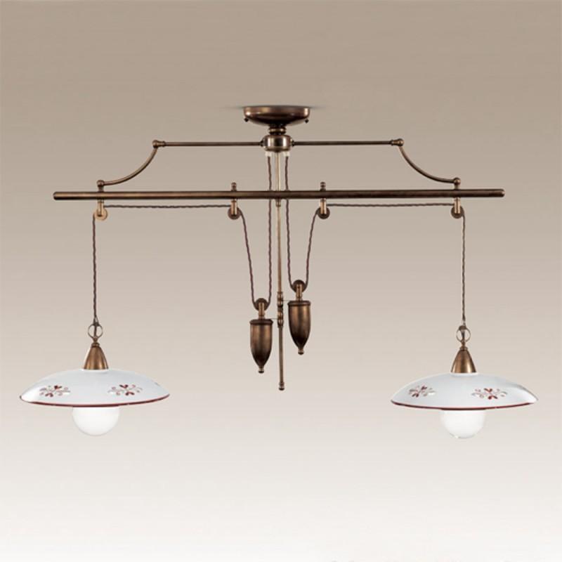 Závěsné stahovací rustikální svítidlo 364/2S-BR-CE1-MA - hnědý dekor