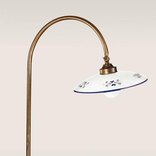 Stojací lampa rustikální 475/1P-BR-CE1-BL - modrý dekor