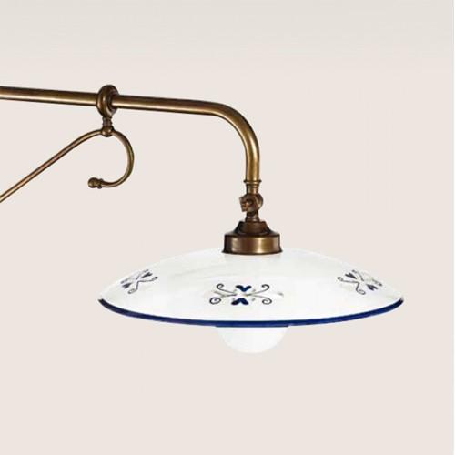 Stojací lampa rustikální 375/1P-BR.CE1-BL - modrý dekor